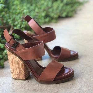 Vince Cognac Leather Marble Wood Platform Heels